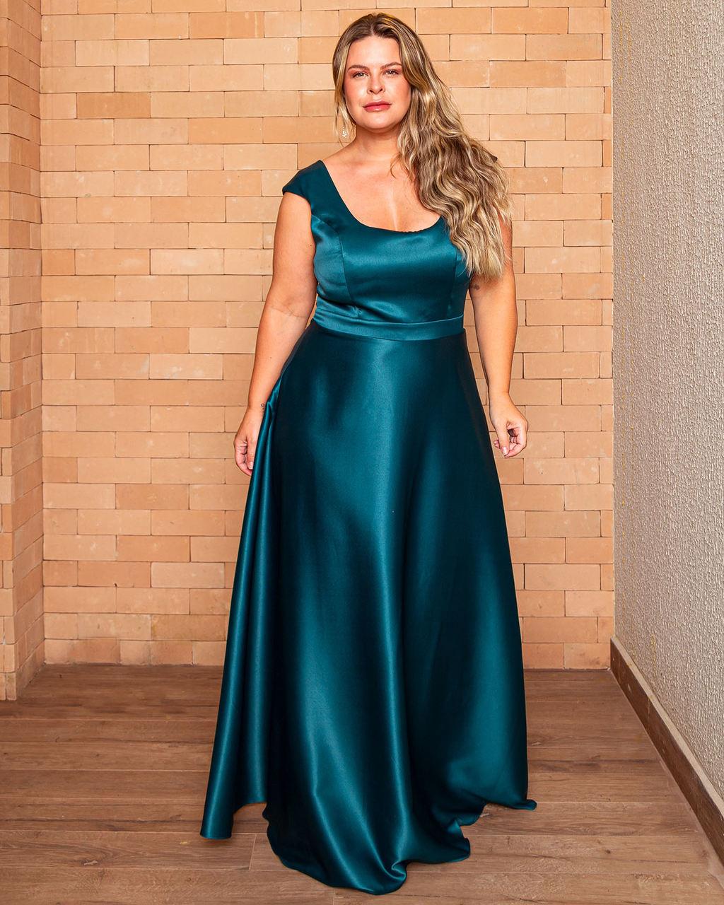 Vestido Longo Acetinado Prada Decote U Saia Rodada