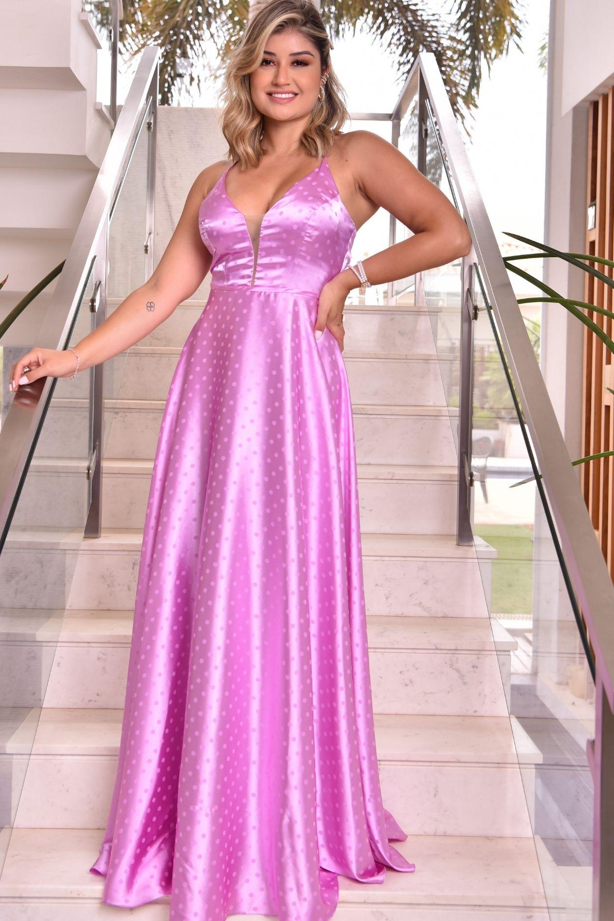 Vestido longo cetim de poá lilás