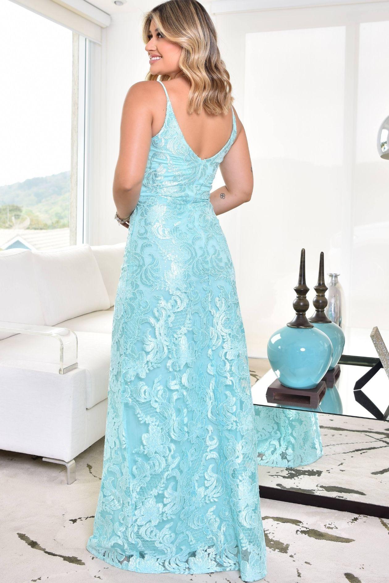 Vestido Longo de Paete com Alcinha Dupla paradise