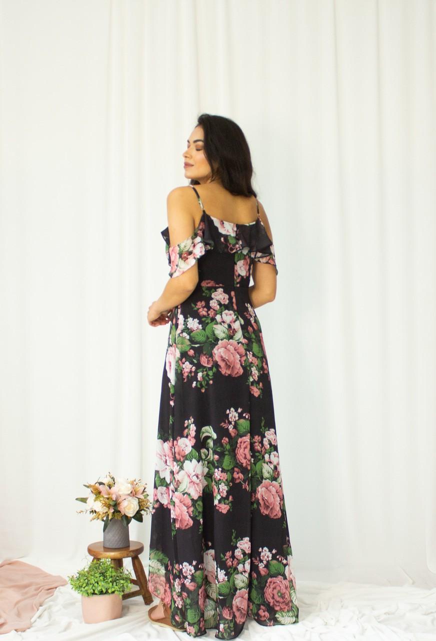 Vestido Longo Estampado Floral Manga Caída