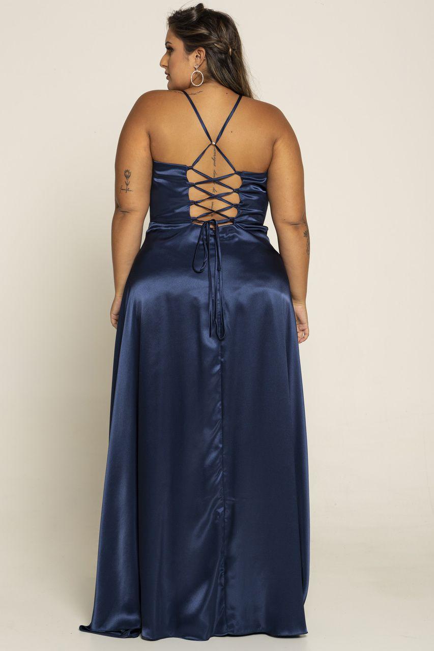 Vestido Longo Plus Cetim com Fenda e Amarração nas costas