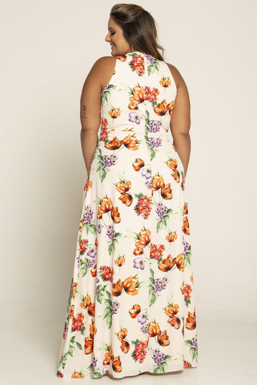 Vestido Longo Plus Size Estampado Floral
