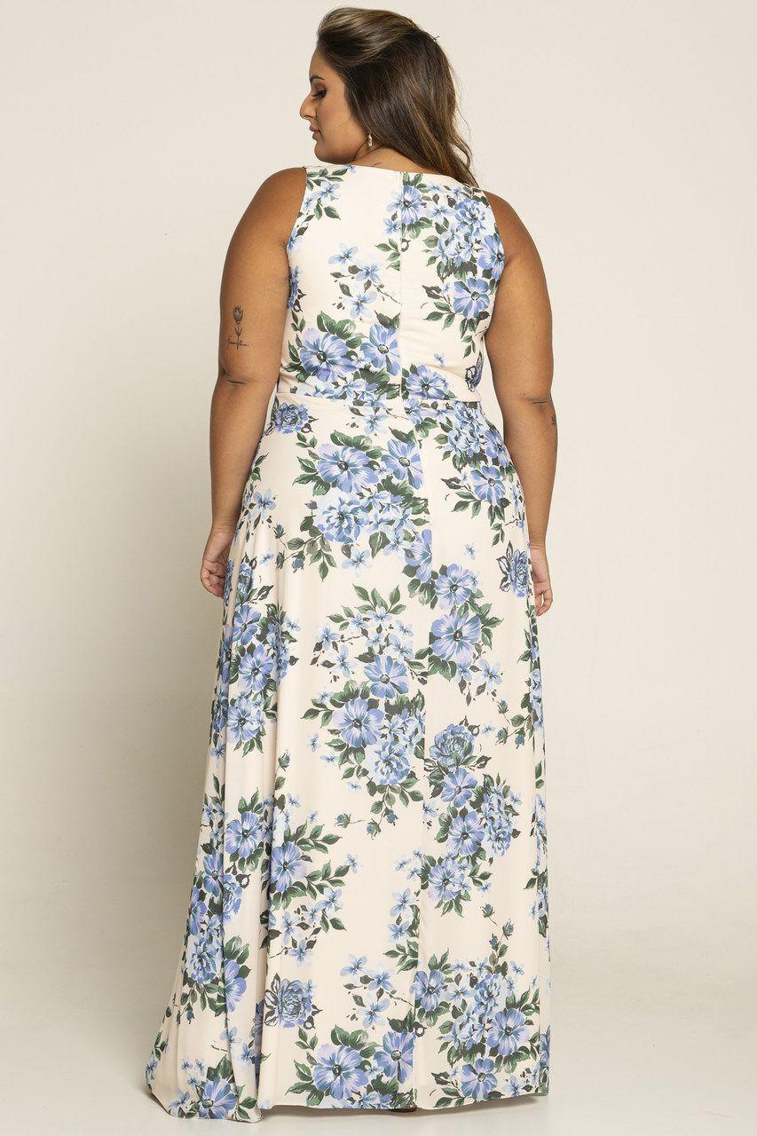 Vestido Plus Floral com Tiras no Busto e Fenda