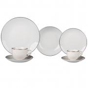 Aparelho de Jantar Porcelana Legacy Filete Prata - 42 Peças