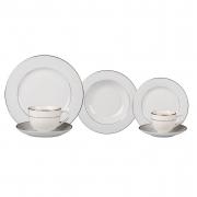 Aparelho de Jantar Porcelana Majesty Filete Prata - 42 Peças