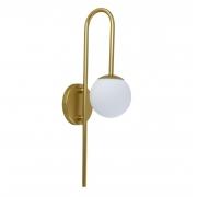 Arandela Curva Dourada Metalizada e Globo Vidro Branco