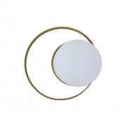 Arandela Moderna Saturno Com Dois Círculos e Globo - Dourado