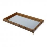 Bandeja Bambu Espelhada E Pezinho Dourado - Grande 55x35cm