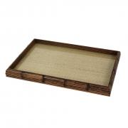 Bandeja de Bambu com Sisal Natural e Vidro - Grande 45x30cm