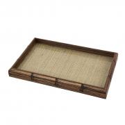 Bandeja de Bambu com Sisal Natural e Vidro - Woodart 38x24cm