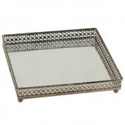 Bandeja Decorativa De Ferro Espelhado - Quadrada 16cm