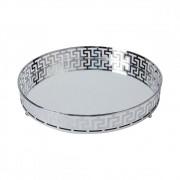Bandeja Decorativa Espelhada de Metal Cor Prata Redonda 30cm