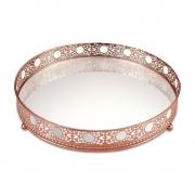 Bandeja Decorativa Espelhada Redonda Cobre / Rosé Gold 17cm