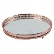 Bandeja Decorativa Espelhada - Redonda Grande Cobre Diâmetro 20,5 cm