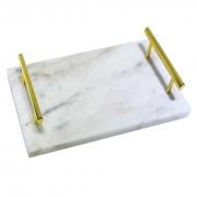 Bandeja Decorativa Mármore Branco e Alças Douradas 38x27cm