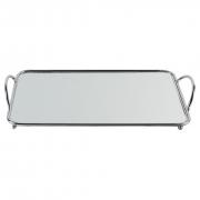 Bandeja Espelhada de Metal para Decoração - Prateada 40x22cm