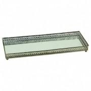 Bandeja Espelhada de Metal - Retangular 30cm