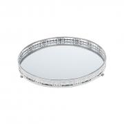 Bandeja Espelhada Decorativa Prata - Redonda 26cm