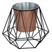 Cachepot em Metal Cobre com Suporte Hexagonal Aramado Preto