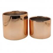 Cachepots de Cerâmica Rosé Gold / Vasinhos Cobre (2 Peças)