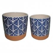 Cachepots / Vasinhos De Cerâmica Terracota e Azul (2 Peças)