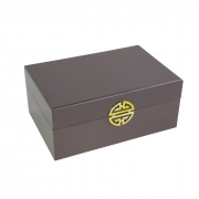 Caixa Decorativa / Porta-joias de Madeira Cor Fendi e Dourado