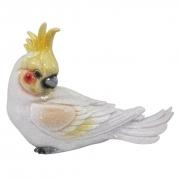 Catatua Branca e Amarelo Pássaro Objeto Decorativo de Resina
