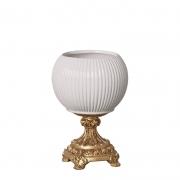 Centro de Mesa de Cerâmica Canelado com Pé - Roma Off-White 28cm