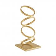 Escultura Abstrata Aros Dourados - A Leveza do Equilíbrio