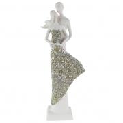 Escultura de Casal Apaixonado - Vestido Prata Com Brilho
