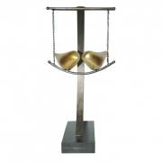 Escultura Decorativa - Casal de Pássaros Dourados No Balanço