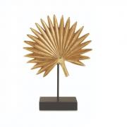 Escultura Decorativa Folha Dourada em Resina e Base Preta