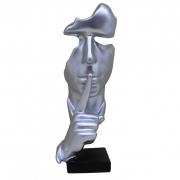Escultura Decorativa Rosto Prata - Silêncio Para Leitura