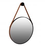 Espelho Redondo Decorativo com Alça Onix - Preto Fosco 70cm