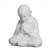 Estátua Monge Rezando - Objeto Decorativo Grande Cor Branco