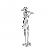 Estatueta Decorativa Mulher Tocando Violino - Resina Prata
