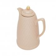 Garrafa Térmica De Porcelana Renda Rosa e Dourado 900ml