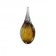 Gota de Vidro Torcido Tipo Murano JR Glass - Âmbar Pequena