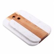 Jogo de Tábuas de Servir - Mármore Branco Madeira (2 Peças)