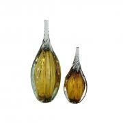 Kit 2 Gotas de Vidro Torcido Tipo Murano JR Glass - Âmbar