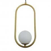 Kit 2 Pendentes Modernos Aro Oval Dourado Com Globo Branco