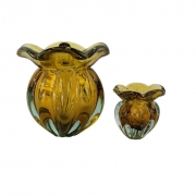 Kit 2 Trouxinhas de Vidro Tipo Murano JR Glass - Âmbar