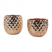 Kit 2 Vasos Cor Cobre / Cachepots de Cerâmica Rosé Gold