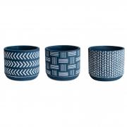Kit 3 Cachepots / Vasinhos Azul e Branco Estilo Boho Étnico