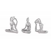Kit 3 Esculturas Decorativas Prata Mulheres Em Poses de Yoga