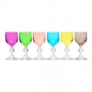 Kit 6 Taças de Licor Cristal Bohemia Coloridas Sortidas 50ml
