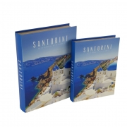Kit Caixa Livro Decorativo em Madeira - Santorini (2 Caixas)