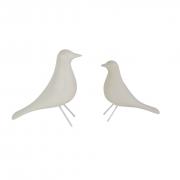 Kit Dois Passarinhos Decorativos De Cerâmica Cor Branca
