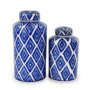 Kit Potiches Decorativas - Porcelana Branco e Azul (2 Peças)