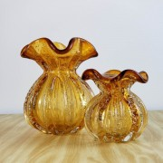 Kit Vasos de Murano - Trouxinhas de Cristal Âmbar (2 Peças)